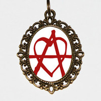 Anarchy Heart Necklace Oval Pendant