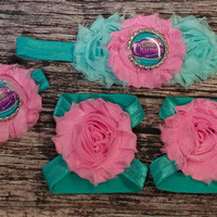 Little Charmers Girl's Headband, Bracelet, and Barefoot Sandals Set! / Baby Infant Toddler Little Girls/ Birthday Unique Beautiful Hair Bows