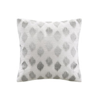 INK+IVY Nadia Dot  Cotton Dec Pillow w/ Embroidery, Silver