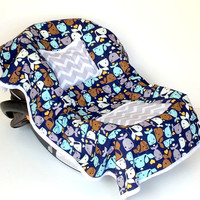 Car seat Cooler Whale for Infants, Baby, and Toddler, Whale, Blue, Green, Baby Boy, Gray Chevron, Embroidered Whale