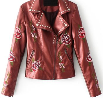 Burgundy Lapel Embroidery Floral Leather Look Biker Jacket