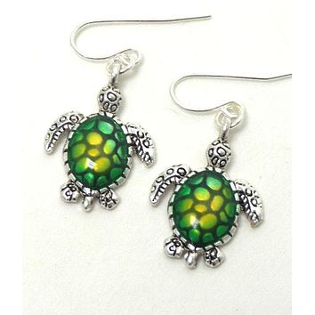 Green Sea Life Turtle Hook Earrings