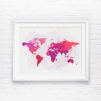 World map Wall Art, Printable World Map, Wanderlust, Rose Watercolor World Map, Coral Nursery World Map, Girls Nursery Printable Wall Art
