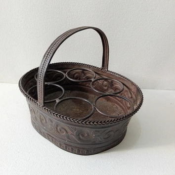 French Rustic metal storage basket, french vintage, vintage basket, farmhouse, french kitchen, decor rustic, shabby chic, cottage decor
