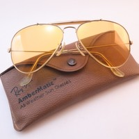 Vintage B&L Ray Ban aviator sunglasses ambermatic etched BL lens size 58-14 USA
