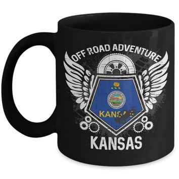 Kansas Off Road Adventure 11oz Black Coffee Mug 4x4 Trails Riding Mudding Gift Idea
