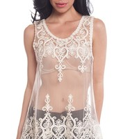 Irreplaceable in Lace Sheer Lace Crochet Trim Tank Top - Cream