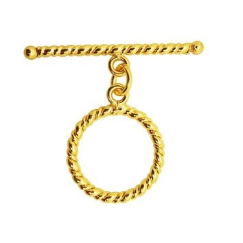 TG-108 18K Gold Overlay Simple round Ring & Bar roll by twisted wire Toggle 21MM Ring Size