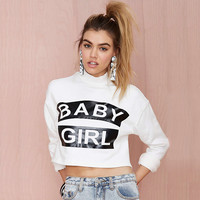 White Baby Girl Print Longsleeve Cropped Top