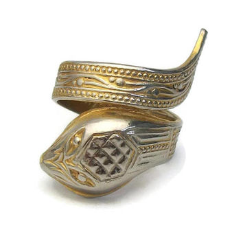 Vintage Brass Snake Ring Made in Spain - Unisex Mens Womens Wrap Around Serpent - Adjustable Size 7 Metal Animal Ring Gypsy Boho Jewelry