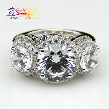 3-Stone Antique Style Lonze Simulated Diamond Plated 18K Gold 3 Carat Diamond 925 Silver Engagement Ring Band 3pcs Wedding Set