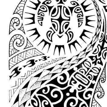 Realistic Large Temporary Tattoo Large Tribal Maui Black Totem Arm Tattoo