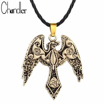 Chandler Triskele Raven Necklaces & Pendant Triskelion Symbol Norse Vikings Odin's Raven Jewelry Unisex Bird Rope Chain Colier