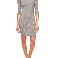 Rib-Knit Bodycon Midi Dress With 3/4 Sleeves