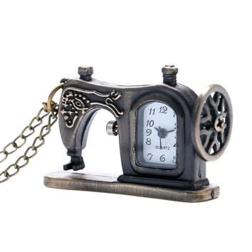 Small Antique Bronze Style Sewing Machine Quartz Pocket Watch Women Ladies Necklace Pendant Gift Cute