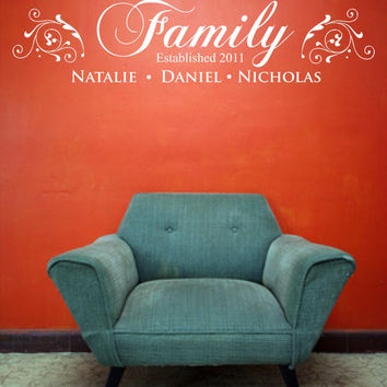 Family Decal, Family Decal Sticker, Family Wall Decal, Custom, Personalized
