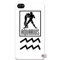 Aquarius Sign Zodiac Horoscope Symbol Apple Iphone 4 Quality TPU Soft Rubber Case for Iphone 4/4s - AT&T Sprint Verizon - White Case