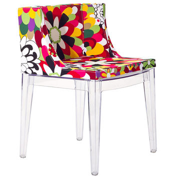 Flower Design Accent Chair Clear
