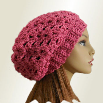 PINK SLOUCHY Hat Crochet Knit Wool Bright Pink Slouchy Beanie Slouch Beany Women Hats Accessories Teen Pink Hat Great Gift Ready to Ship