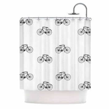 "Suzanne Carter ""Vintage Wheels"" Black White Shower Curtain"
