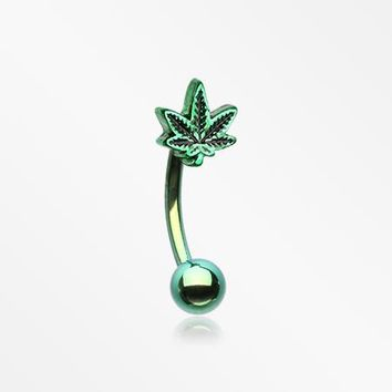 Colorline Cannabis Pot Leaf Curved Barbell