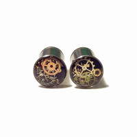 0g Steampunk Tunnels Gauges Plugs 8mm filled with watch parts LIMITED EDITION jewelry
