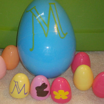 Jumbo 10inch Personalized Easter egg and 5 decorate your own medium easter eggs inside.