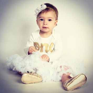 One Outfit with baby moccasin shoes White Easter Fluffy tutu long sleeve gold glitter