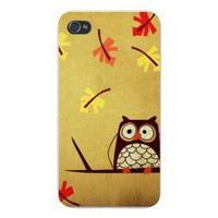 Apple Iphone Custom Case 4 4s White Plastic Snap on - Cartoon Owl on Branch w/ Leaves Falling