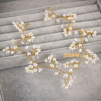 gold hairbands wedding tiara pearl wedding crown bridal hair accessories bride accessories head jewelry