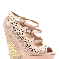 Nude Faux Suede Studded Peep Toe Platform Wedges