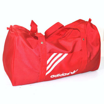 vintage ADIDAS red duffel bag 80s 90s ATHLETIC gear designer OVE 8740ab4658284