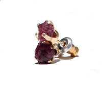 Wine red ruby set in vermeil stud earrings - gift under 50 dollar
