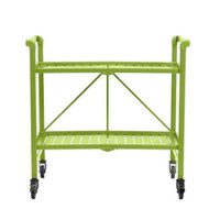 Rectangular Steel Folding Serving Cart in Apple Green Outdoor Bar Cart