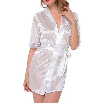 Sexy White Silk Robe Bathrobe Kimono Robes Womens Sleepwear Babydoll Nightie