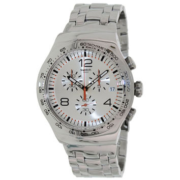 Swatch YOS445G Men's Shiny Addict Silver Dial Steel Bracelet Chronograph Watch