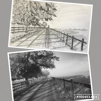 Customer Order pencil sketch, Original graphite hand drawn landscapes, architecture or floral. Turn your photo into art-an original sketch!