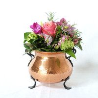 COPPER PLANTER with Wall Hanger, Hold All, Plant Pot, Cast Iron Handle and Feet, Made in Switzerland, German Rustic Modern