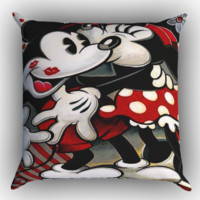 Hugs and Kisses  Mickey Minnie mouse Z1557 Zippered Pillows  Covers 16x16, 18x18, 20x20 Inches