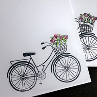 Vintage Bike Note Cards, Retro Bicycle Notecards, White Hand Stamped & Colored, Handmade, Greeting Cards - Set of 5