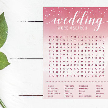 Pink Watercolor Bridal Shower Word Search