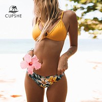 CUPSHE Yellow Floral Print And Solid Cross Bikini Sets Women Heart Neck Backless Two Pieces Swimwear 2018 Sexy Thong Swimsuits