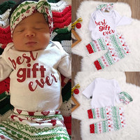 Newborn Baby Girls Boys Clothes Snowflake Chrismas Tops Bodysuits Long Pants Casual Clothing Baby Girl Outfits Costume