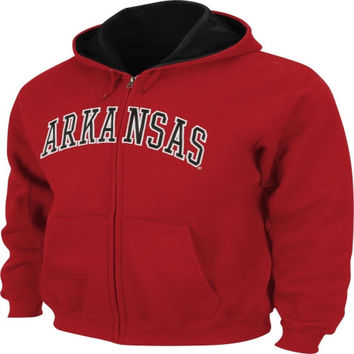 Arkansas Razorbacks Cardinal Tackle Twill Full-Zip Hooded Sweatshirt
