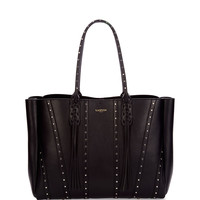 Medium Studded Leather Tote Bag w/ Fringe, Black
