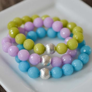 10mm Jade Bracelet Set Colorful Pastel Bead Bracelets Gemstone Bracelets Womens Sterling Silver Bracelets Stretchy Yoga Bracelets Gifts