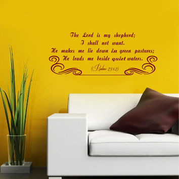 Vinyl Decals Bible Verses Psalms Lord My Shepherd Home Wall Art Decor Removable Stylish Sticker Mural L347 Unique Design for Any Room