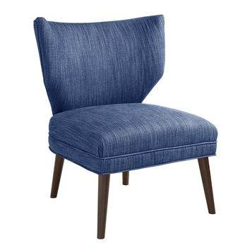 Smith Denim Blue Wingback Chair