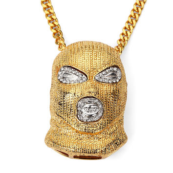 Rhinestone Cool Against Anti-terrorism Headgear Pendant Necklace Gold Bling Crystal CSGO Mask Men's Hip Hop Fashion Jewelry