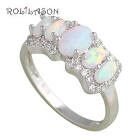White Fire Opal and CZ Ring